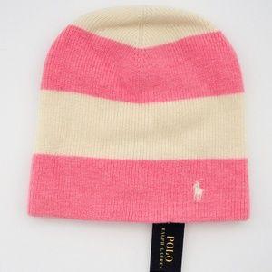 Ralph Lauren Girls Rugby Striped Slouchy Hat 4-6x